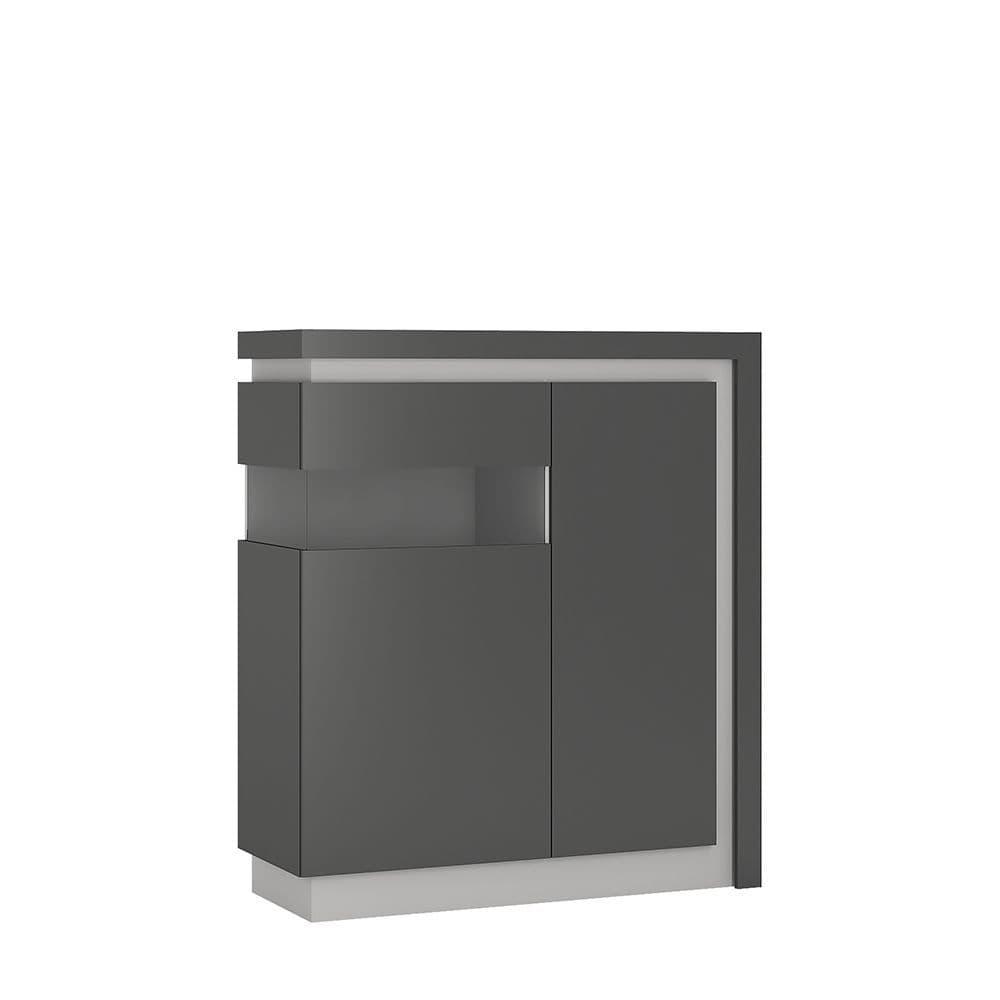 Metropolis 2 door designer cabinet (LH) (includes LEDs) in Platinum/light grey gloss
